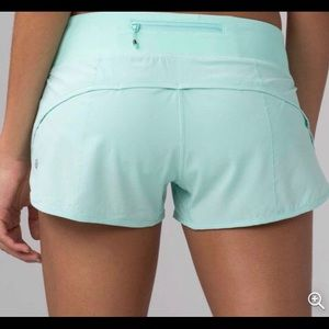 mint green Lululemon up to speed shorts